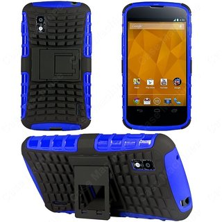 Heartly Flip Kick Stand Hard Dual Armor Hybrid Bumper Back Case Cover For Lg Optimus G E975 Ls970 - Blue