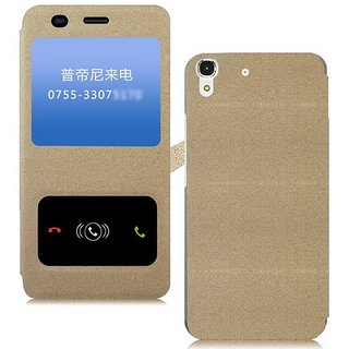 Heartly Goldsand Sparkle Luxury Pu Leather Window Flip Stand Back Case Cover For Yu Yuphoria Yu5010 Dual Sim - Hot Gold