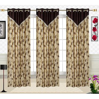 Comfort Zone Polycotton Brown And  Golden Printed Eyelet Long Door Curtains Set of 3