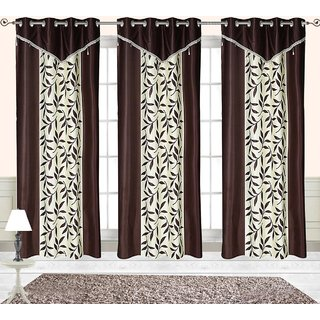 Comfort Zone Polyester Brown, White Printed Eyelet Door Curtains Set Of 3