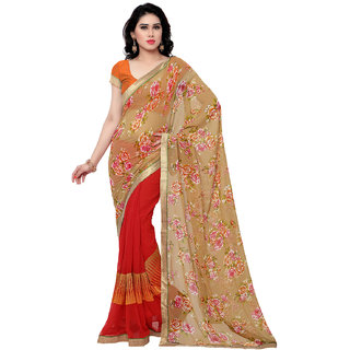 Sareemall Beige & Red Georgette Embroidered Saree With Blouse