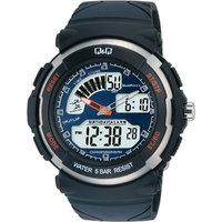 QQ Round Dial Black Rubber Strap Quartz Watch For Men