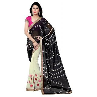 Sareemall Black & Cream Georgette Embroidered Saree With Blouse