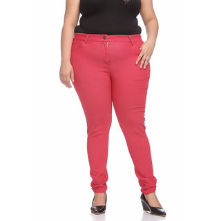 Pluss Women Red Slim Fit Jeggings