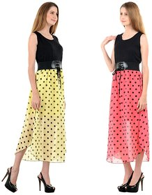 Raabta yellow and peach with Black dotted printed long Dress with Belt set of two combo