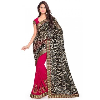 Sareemall Black & Maroon Georgette Embroidered Saree With Blouse