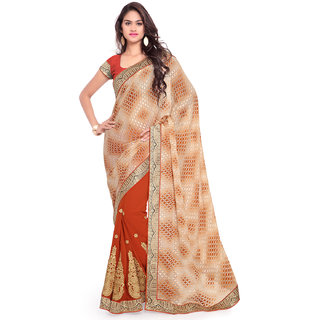 Sareemall Beige & Orange Georgette Embroidered Saree With Blouse