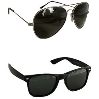 Derry Combo of 1 Wayfarer  1 Black Aviator Sunglasses