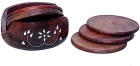 Desi Karigar Brown Wooden Sheesham Lotus Coaster Set