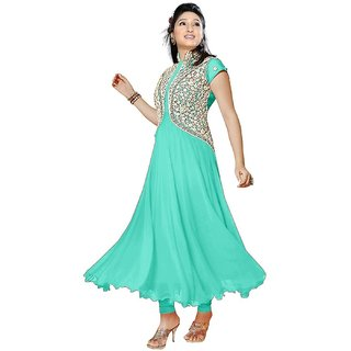 Cia Women Georgette Embroidered C Green Salwar Suit Dress Material Color Free Size