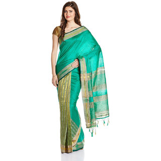 Parchayee Green Silk Striped Saree With Blouse