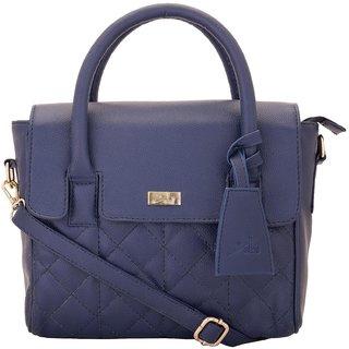 Yelloe Blue Mini Satchel Handbag With Pattern Stitch Effect
