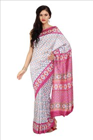 Parchayee White Silk Printed Saree With Blouse