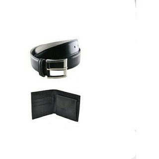 Black leather wallet belt combo offer
