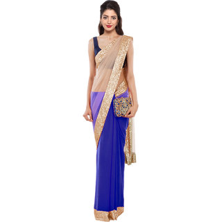 ARYAHI Cream Net Solid Saree