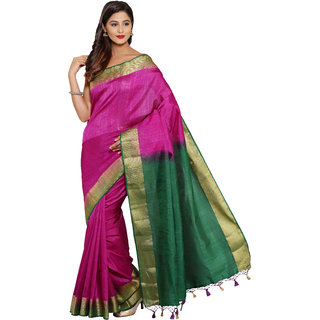 Parchayee Purple Silk Plain Saree With Blouse