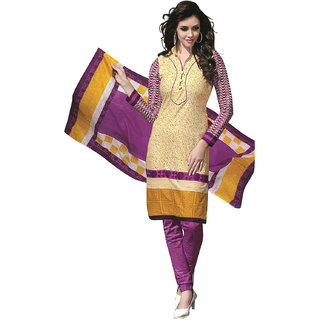 Drapes Beige Cotton Printed Salwar Suit Dress Material (Unstitched)