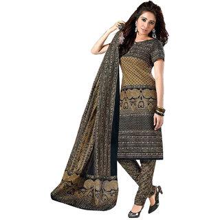 Drapes Black Cotton Printed Salwar Suit Dress Material
