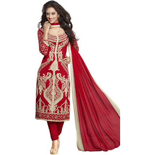 Drapes Red Cotton Printed Salwar Suit Dress Material (Unstitched)