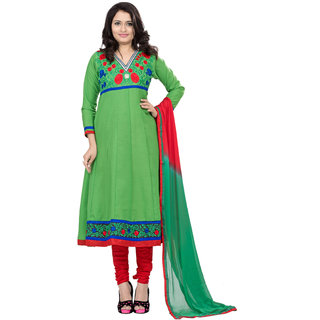Lovely Look GREEN Embroidered Un-Stitched Anarkali Suit LLKKFFQ01