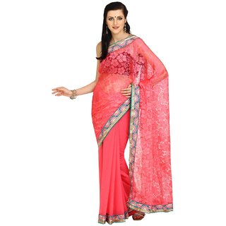 Parchayee Pink Brasso Embroidered Saree With Blouse
