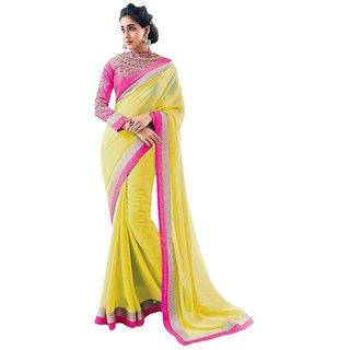 ARYAHI Yellow Chiffon Solid Saree