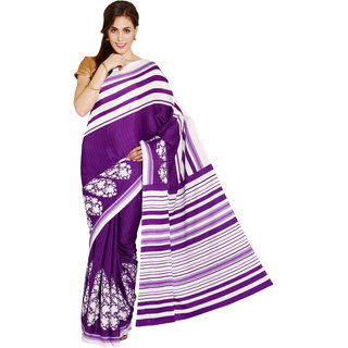 Parchayee Purple Crepe Printed Saree With Blouse
