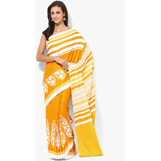 Parchayee Mustard Crepe Printed Saree With Blouse