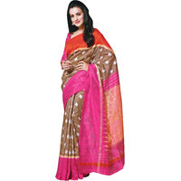 Parchayee Brown Art Silk Printed Saree With Blouse