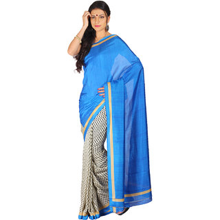 Parchayee Blue Georgette Floral Saree With Blouse