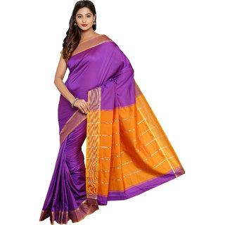 ARYAHI Purple Mysore Art silk Solid Saree