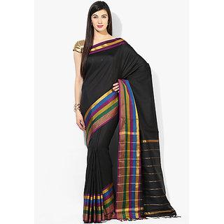 ARYAHI Black Mangalgiri poly cotton Solid Saree