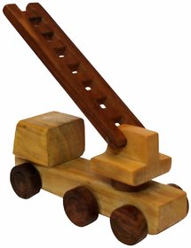 Desi Karigar beautiful wooden Fire Brigade Moving Toy
