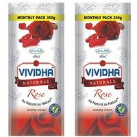 Ullas VIVIDHA Rose Incense Sticks, 350 Gm Zipper Pouch, set of 2 Pouches