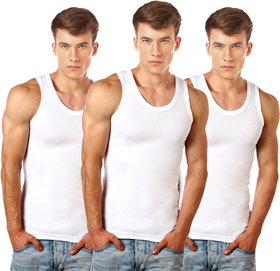 Lux Cozi GLO Mens Pack of 3 White Cotton Vests