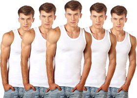 Lux Cozi GLO Mens Pack of 5 White Cotton Vests