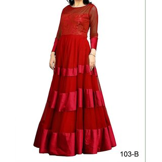 PS Enterprise Red soft net Stitched Gown