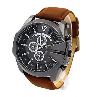 Top Quality Mens Analog BIG BLACK DIAL Quartz Wristwatch With Brown Suede Strap (Small Dials Only For Deco)