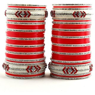 Red Bridal Punjabi Chudas , Wedding Chudas With American Diamond