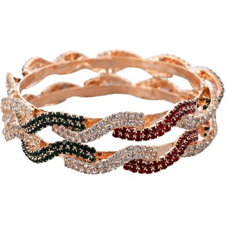 Maroon Green And White Stone Bangles-Silver