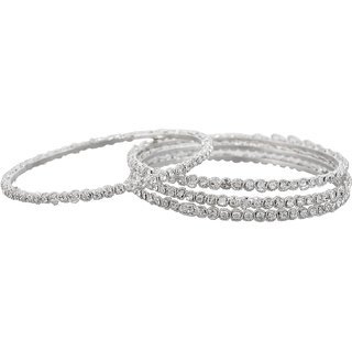 White Stone Bangles-Silver