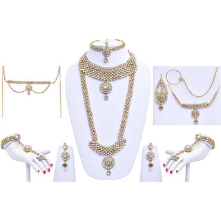 Buy Designer Pearl And Stone White Wedding Bridal Jewellery Set