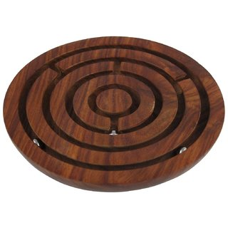 Desi Karigar Wooden Labyrinth Board Game Ball In Maze Puzzle Handcrafted In India - Jigsaw Puzzle