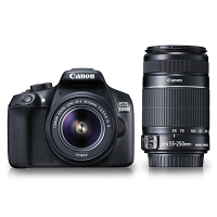 Canon EOS 1300D 18MP Digital SLR Camera (Black) With 18-55 And 55-250mm Lens, 16GB Card, Carry Case  FREE POWERBANK