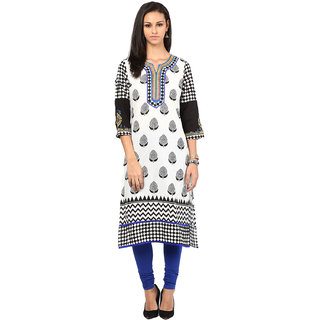 Prakhya Printed Womens Long straight cotton kurta-SW3005BLUE