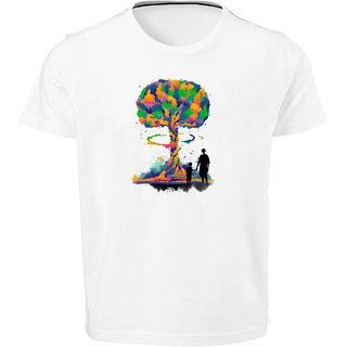 Felicity Men White Dri Fit  Multi Color Bonding Tree