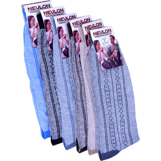 Neulon (v-step) Menss Printed Crew Length Socks Pack Of 6