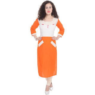 Beautiful Cotton Printed Orange Kurti From the house of Preksha