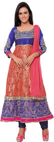 Aaina Pink  Blue Brasso Embroidered Suit (SB-3157) (Unstitched)