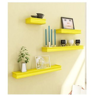 Onlineshoppee Beautiful Wooden Yellow Rectangular Wall Shelf